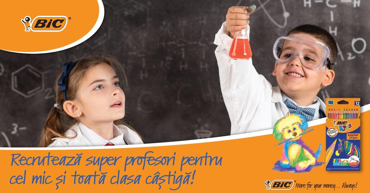 Cum poți câștiga echipament școlar pentru clasa copilului tau, în valoare de 1000 de euro, BIC Kids